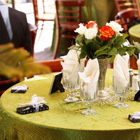 Reception, Flowers & Decor, orange, green, Centerpieces, Centerpiece, Table, Diamond, Setting, Confetti
