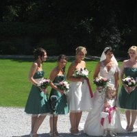 Beauty, Flowers & Decor, Bridesmaids, Bridesmaids Dresses, Wedding Dresses, Fashion, pink, green, dress, Bridesmaid Bouquets, Flowers, Hair, Flower Wedding Dresses