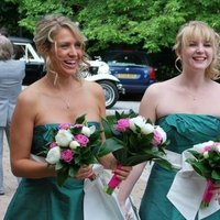 Beauty, Flowers & Decor, Bridesmaids, Bridesmaids Dresses, Fashion, pink, green, Bridesmaid Bouquets, Flowers, Hair, Flower Wedding Dresses