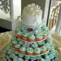 blue, Teal, Cupcake, Wedding cake