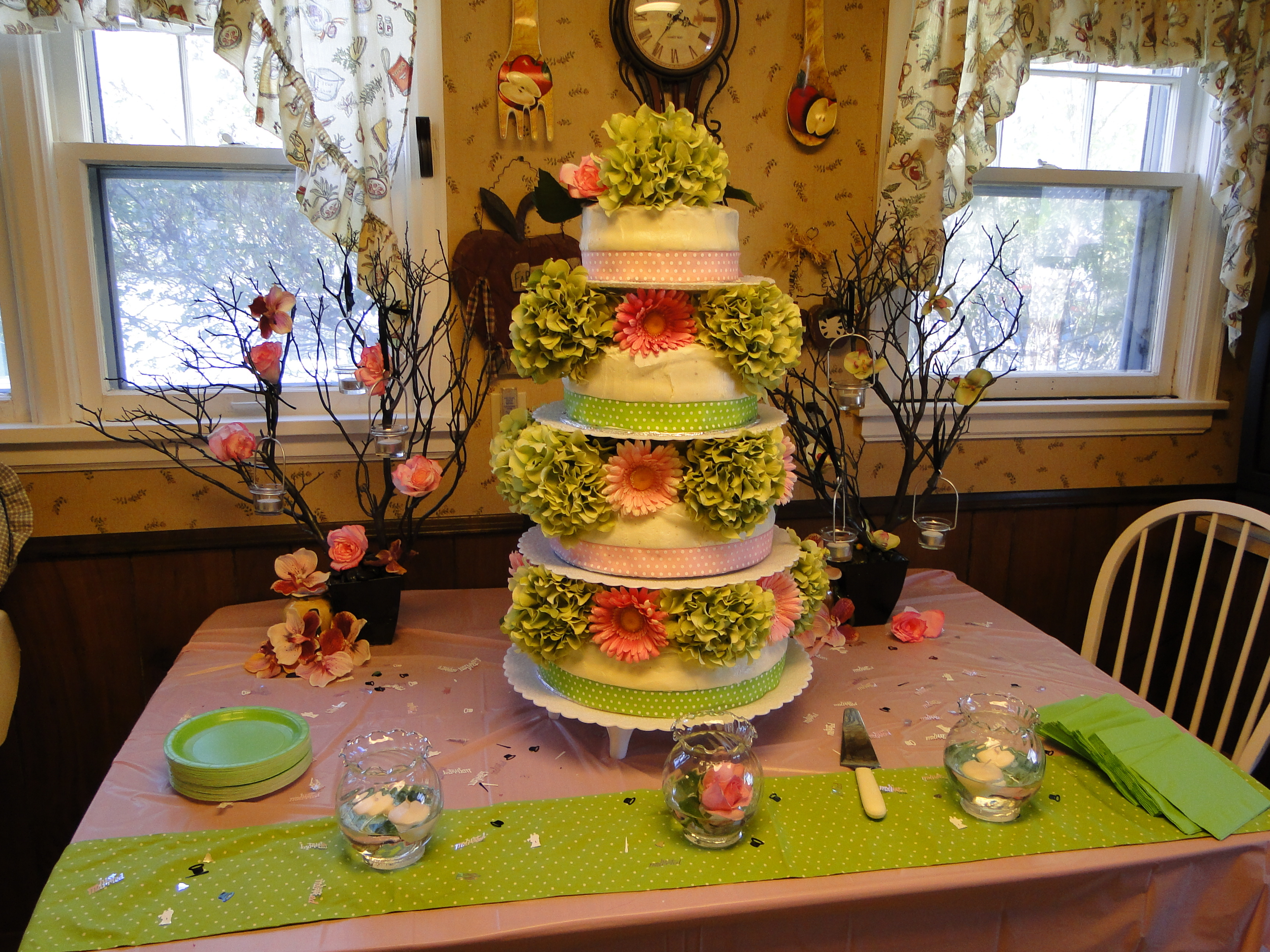 Cakes, pink, green, cake