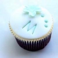 white, blue, Cupcake