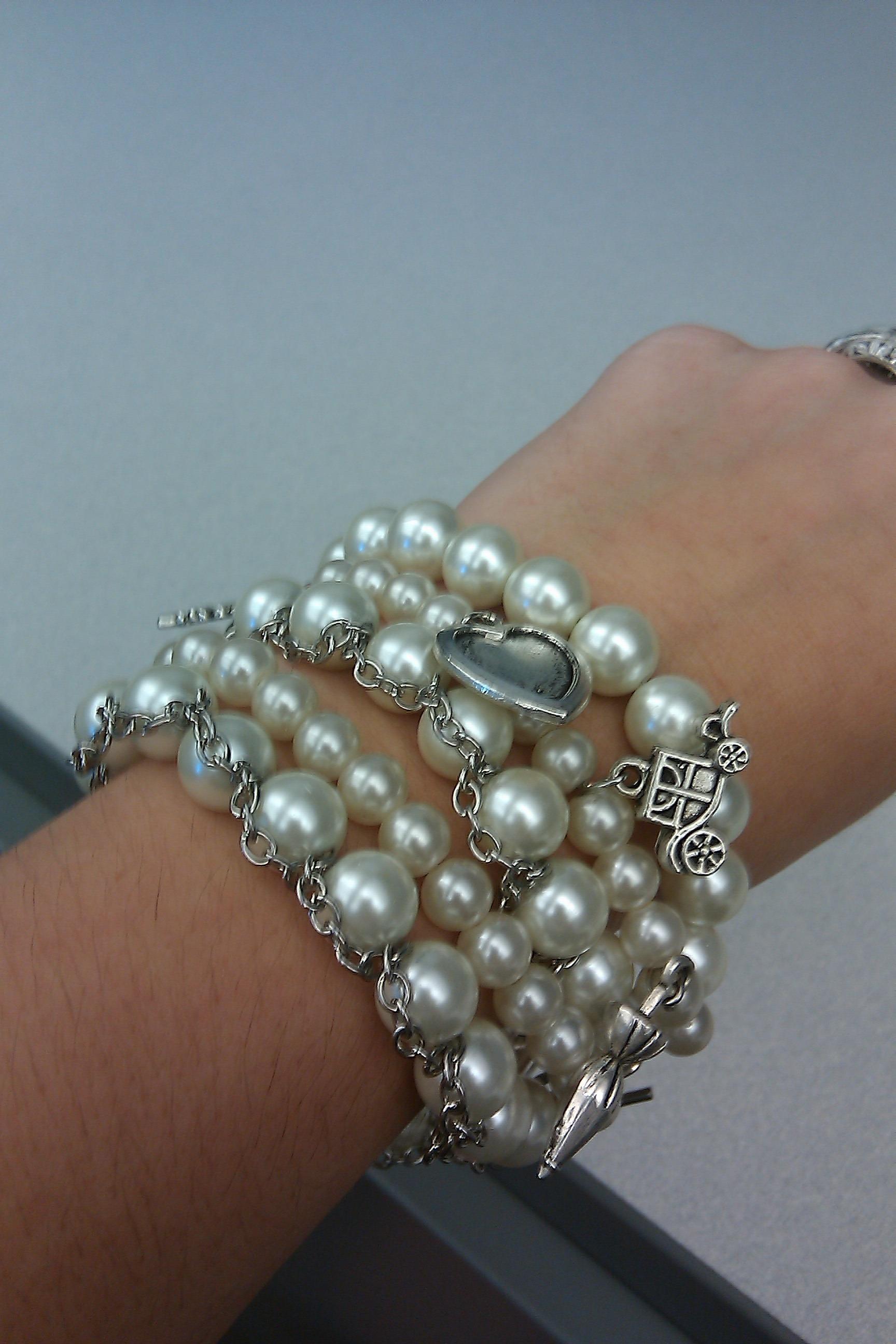 DIY, Jewelry, white, silver, Bracelets, Bracelet, Pearl