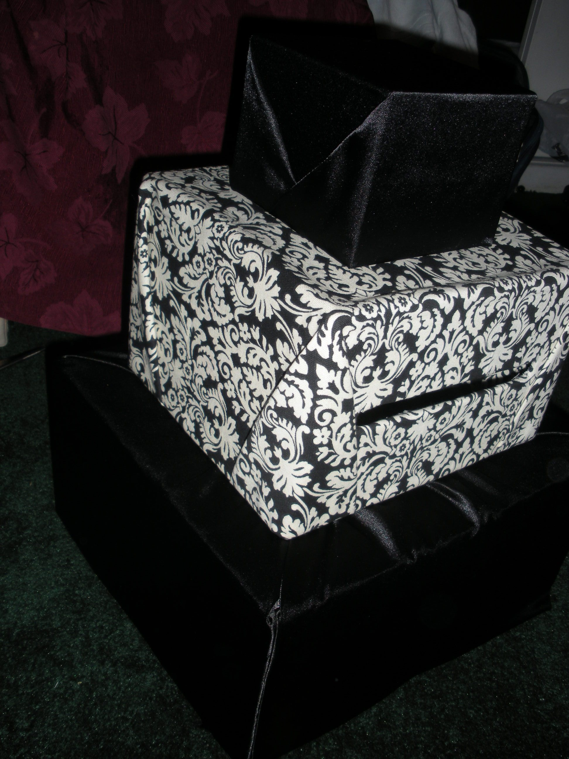 DIY, black, Box, Card, Damask