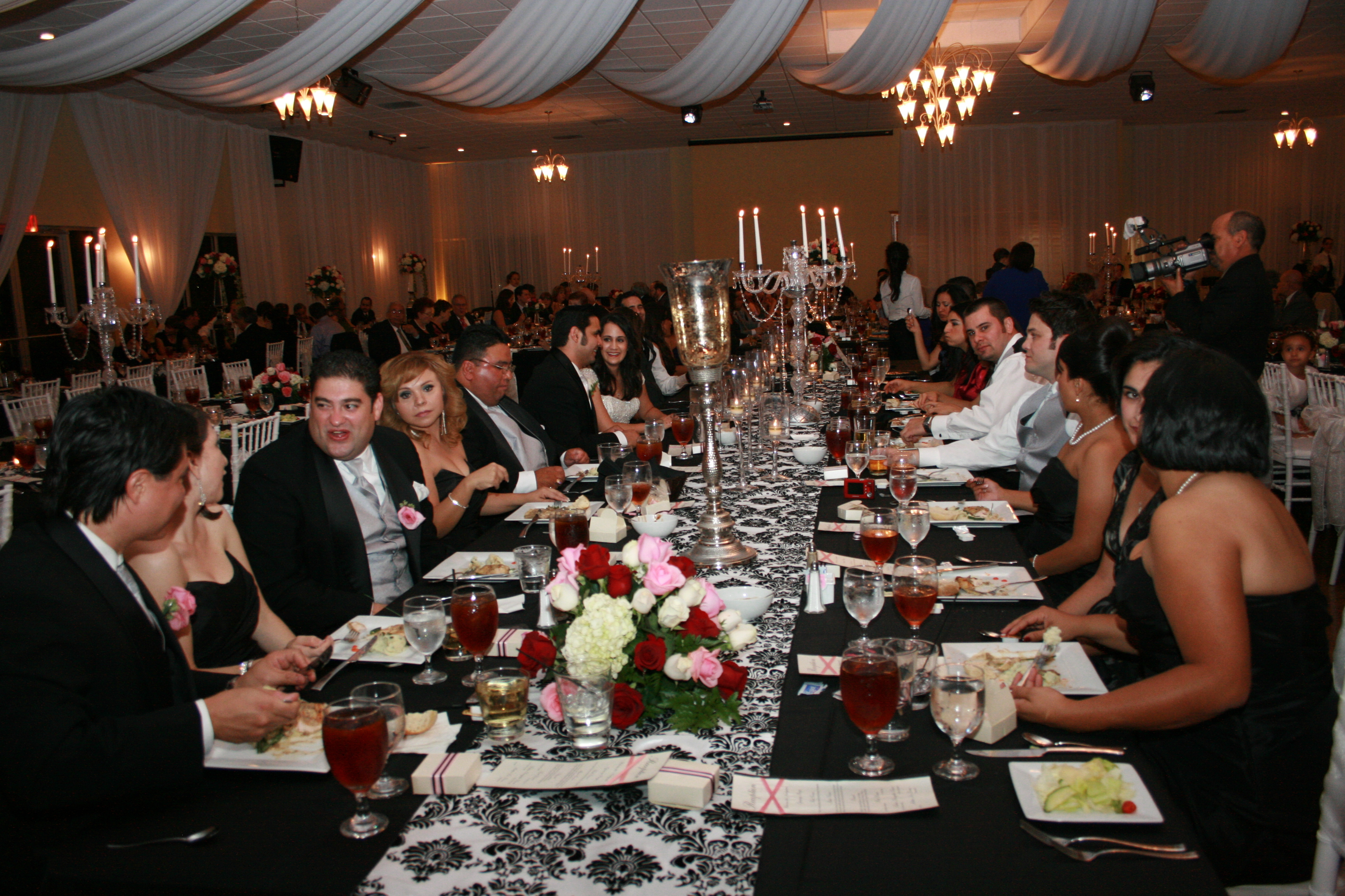 Reception, Flowers & Decor, white, pink, black, silver, Flowers, And, Banquet, Glass, Damask, Seating