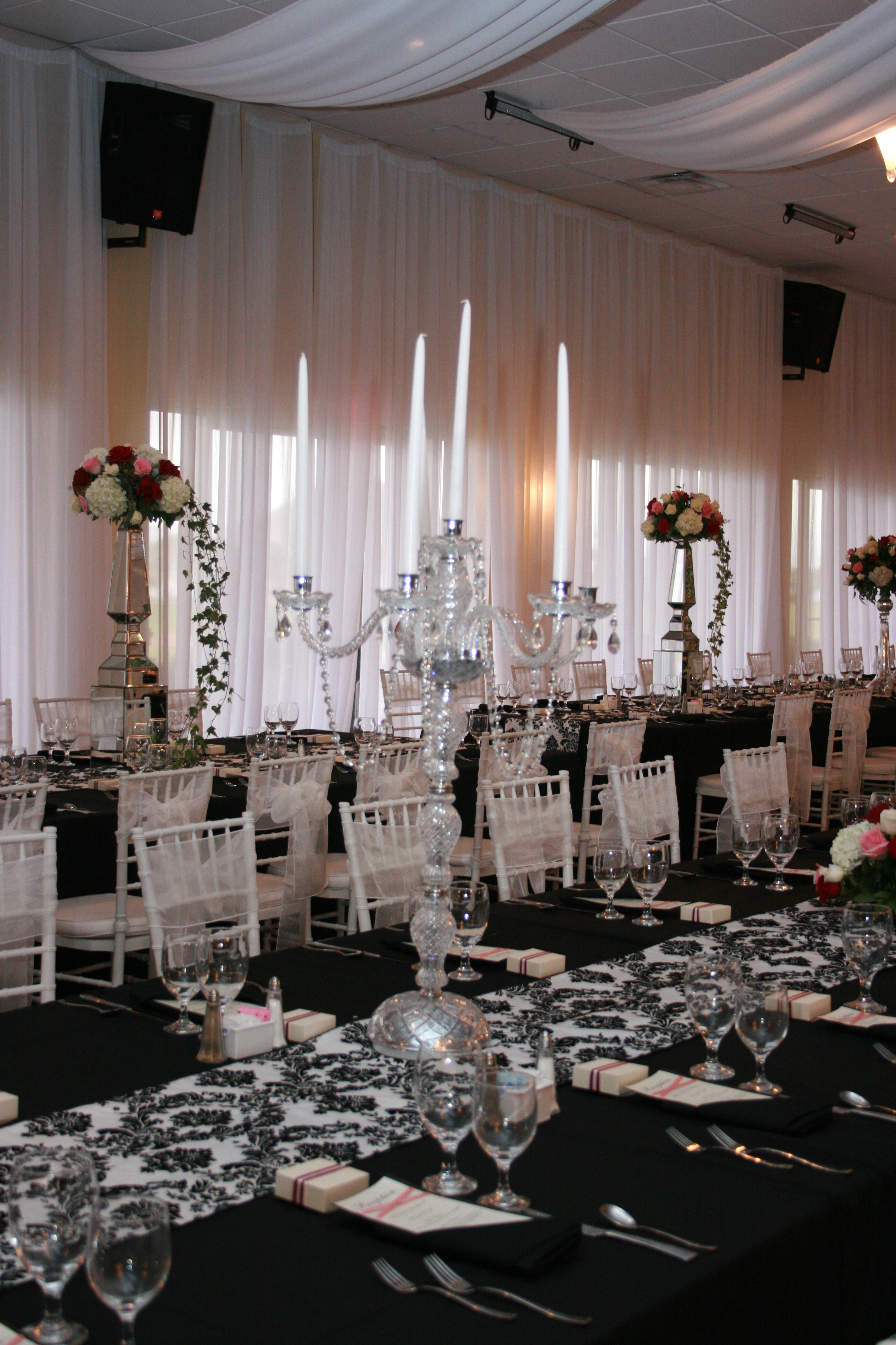 Reception, Flowers & Decor, white, black, silver, Flowers, And, Damask, Candelabra, Cyrstal