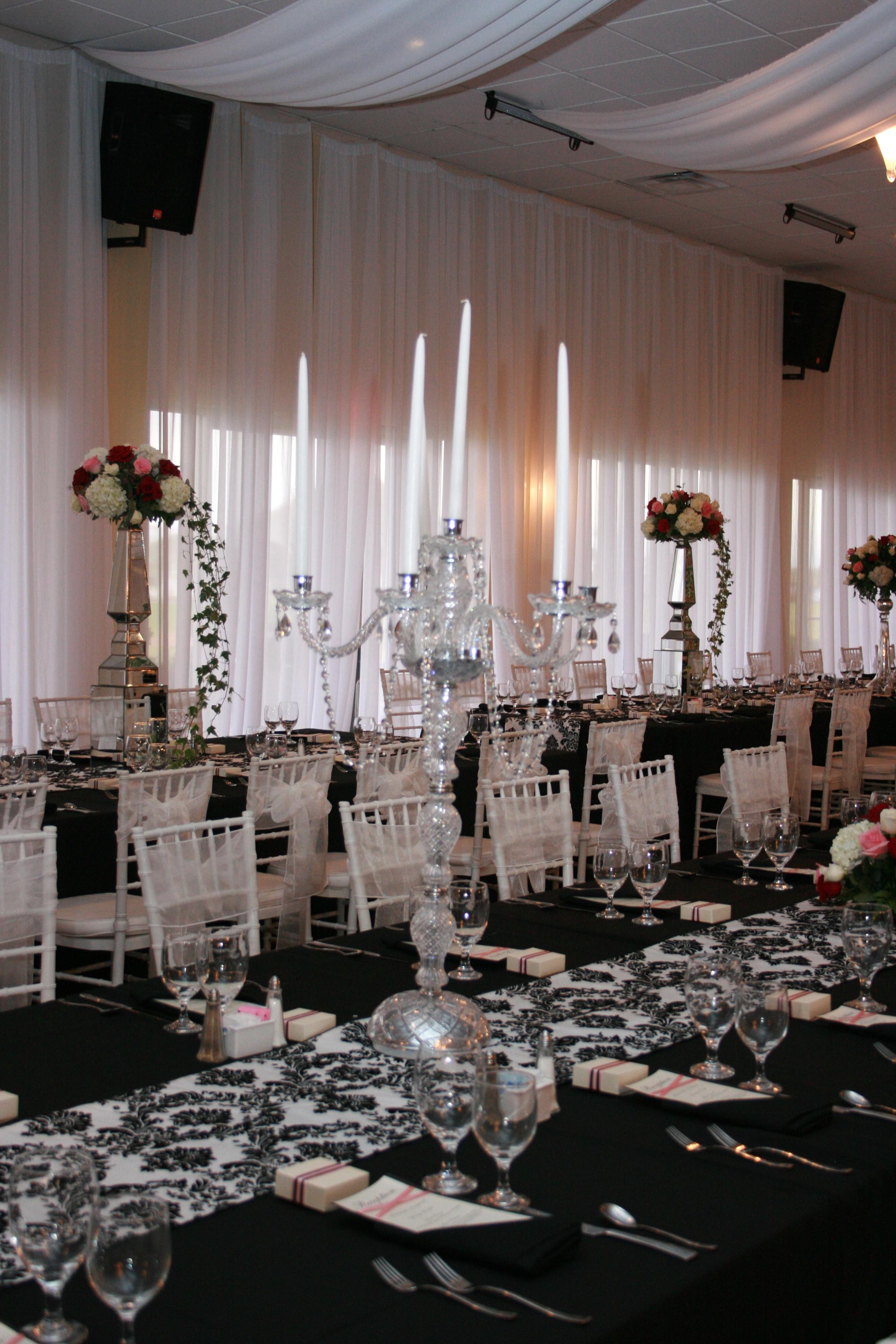 Reception, Flowers & Decor, white, black, silver, Flowers, And, Damask, Candelabra, Cyrstal