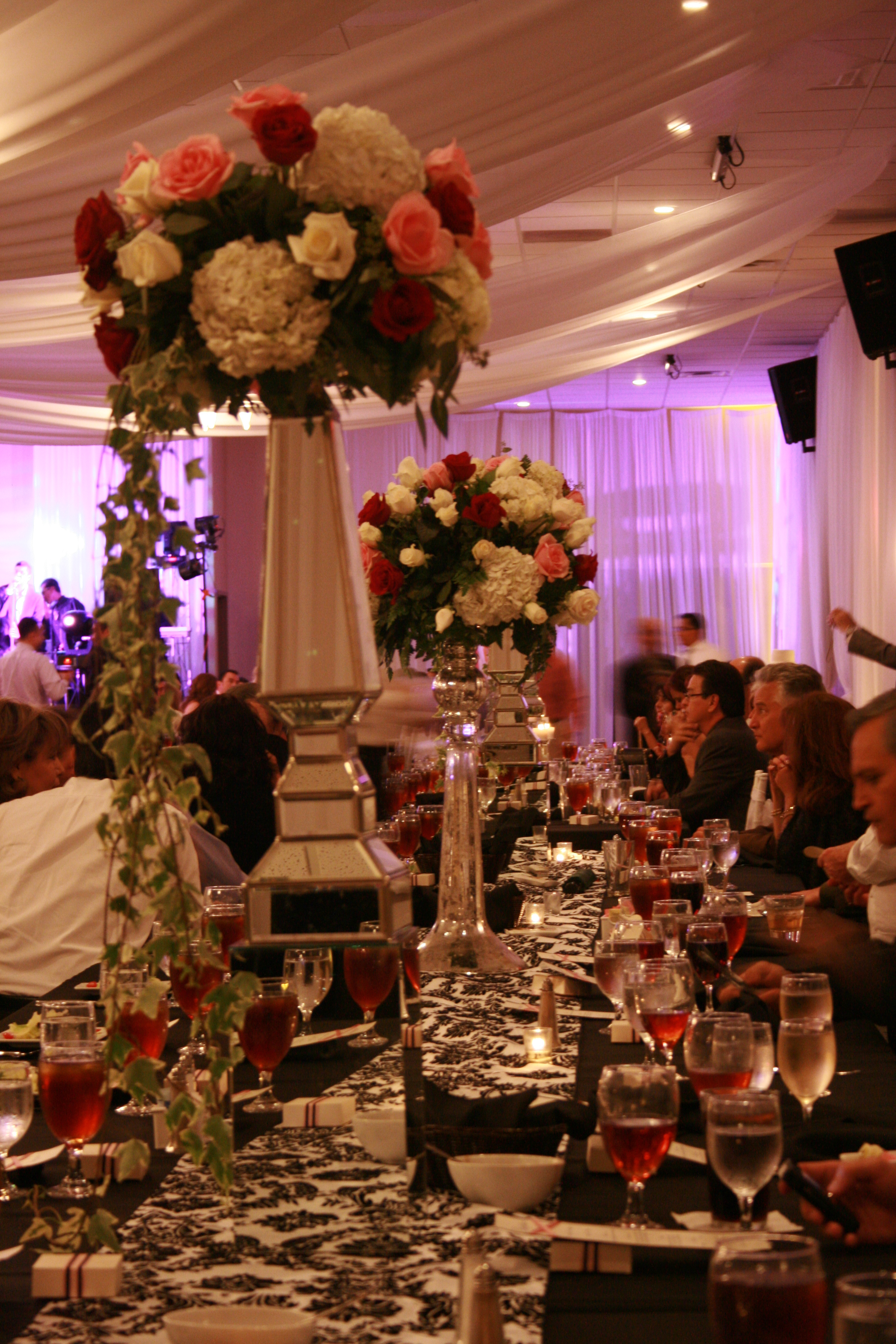 Reception, Flowers & Decor, white, pink, black, silver, Centerpieces, Flowers, Centerpiece, Table, And, Runner, Damask