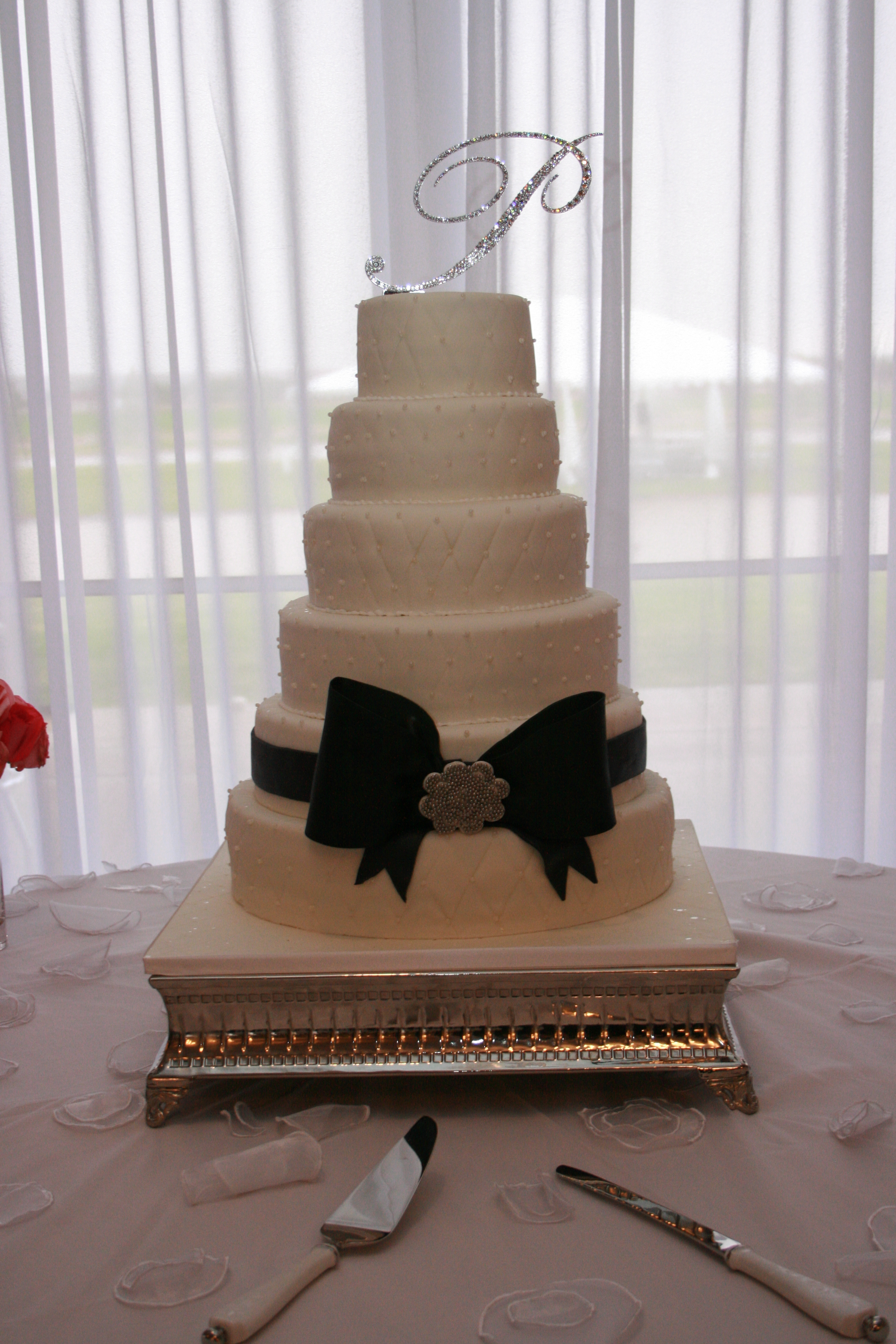 Reception, Flowers & Decor, Cakes, white, black, silver, cake, And