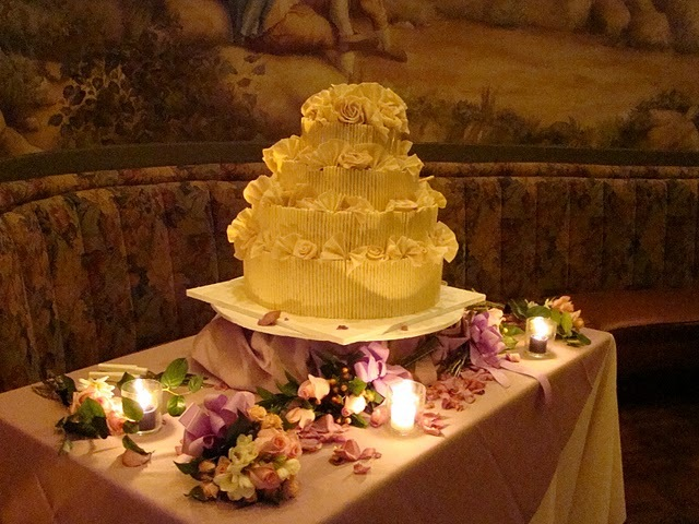 Reception, Flowers & Decor, Cakes, white, purple, cake, Wedding, Chocolate, Stand, 4, Tiers, Curls