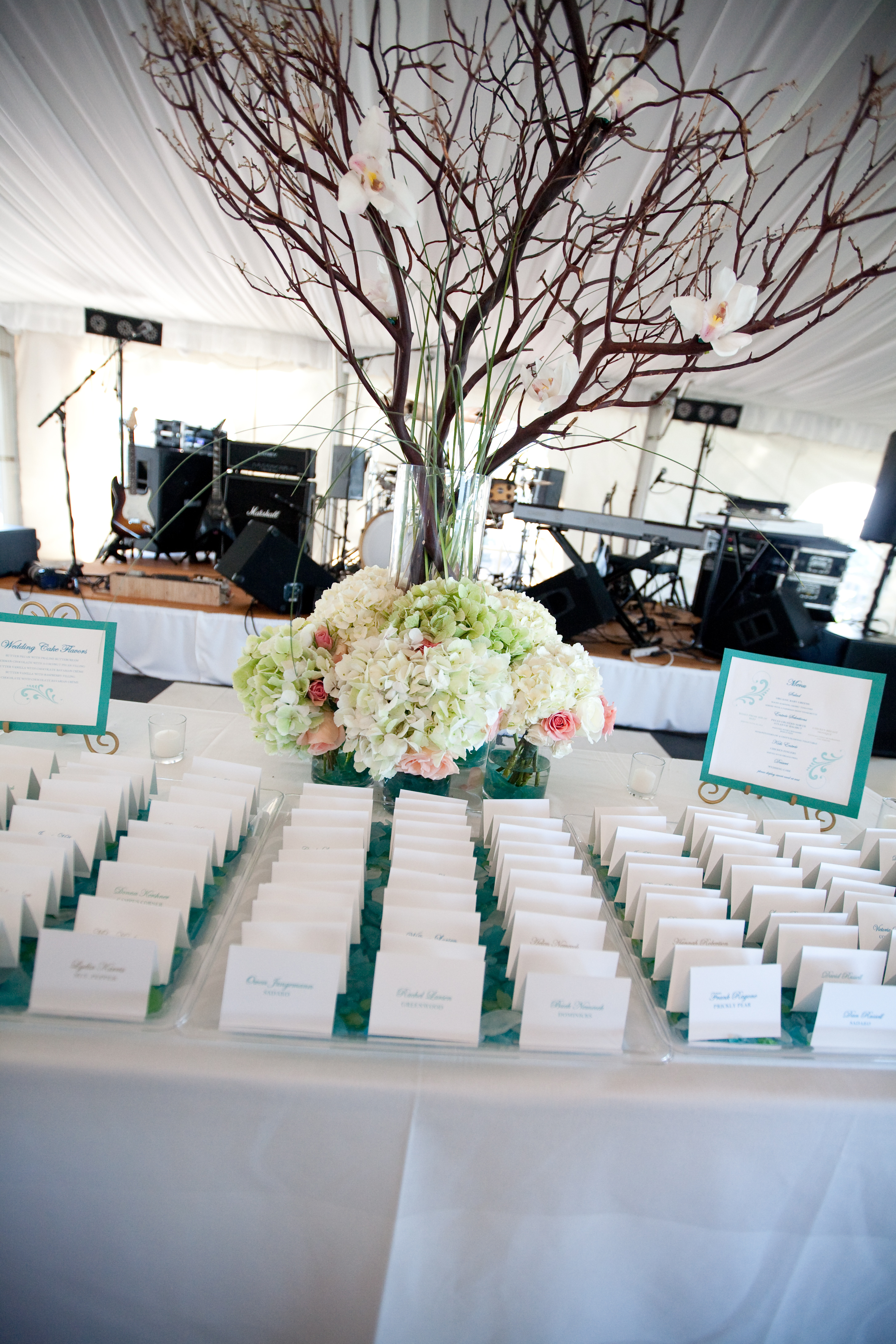 Reception, Flowers & Decor, Stationery, white, blue, green, Escort Cards, Cards, Escort