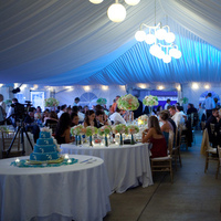 Reception, Flowers & Decor, white, blue, green, Teal, Tent, Uplighting