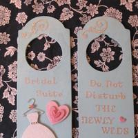 pink, blue, Door hangers