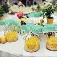 Inspiration, Reception, Flowers & Decor, Stationery, white, yellow, pink, green, Escort Cards, Fruit, Teal, Candy, Board, Aqua, Turquoise, Lemons, Lemon drops
