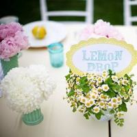 Reception, Flowers & Decor, white, yellow, pink, blue, green, Centerpieces, Flowers, Centerpiece, Fruit, Teal, Peonies, Lemon, Aqua, Turquoise, Table card, Camomile
