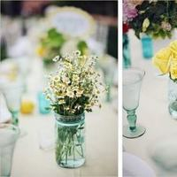 Flowers & Decor, white, yellow, blue, green, Centerpieces, Flowers, Centerpiece, Teal, Aqua, Turquoise, Jars, Mason, Mason jars