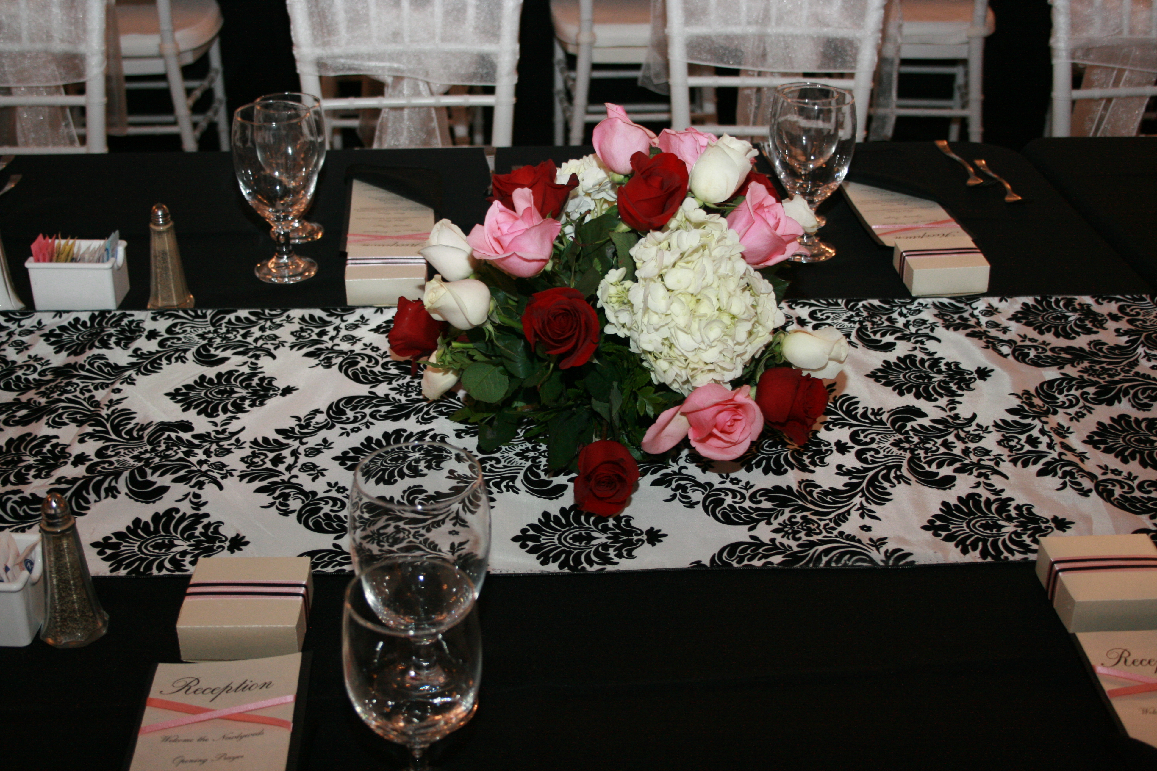 Reception, Flowers & Decor, white, black, silver, Flowers