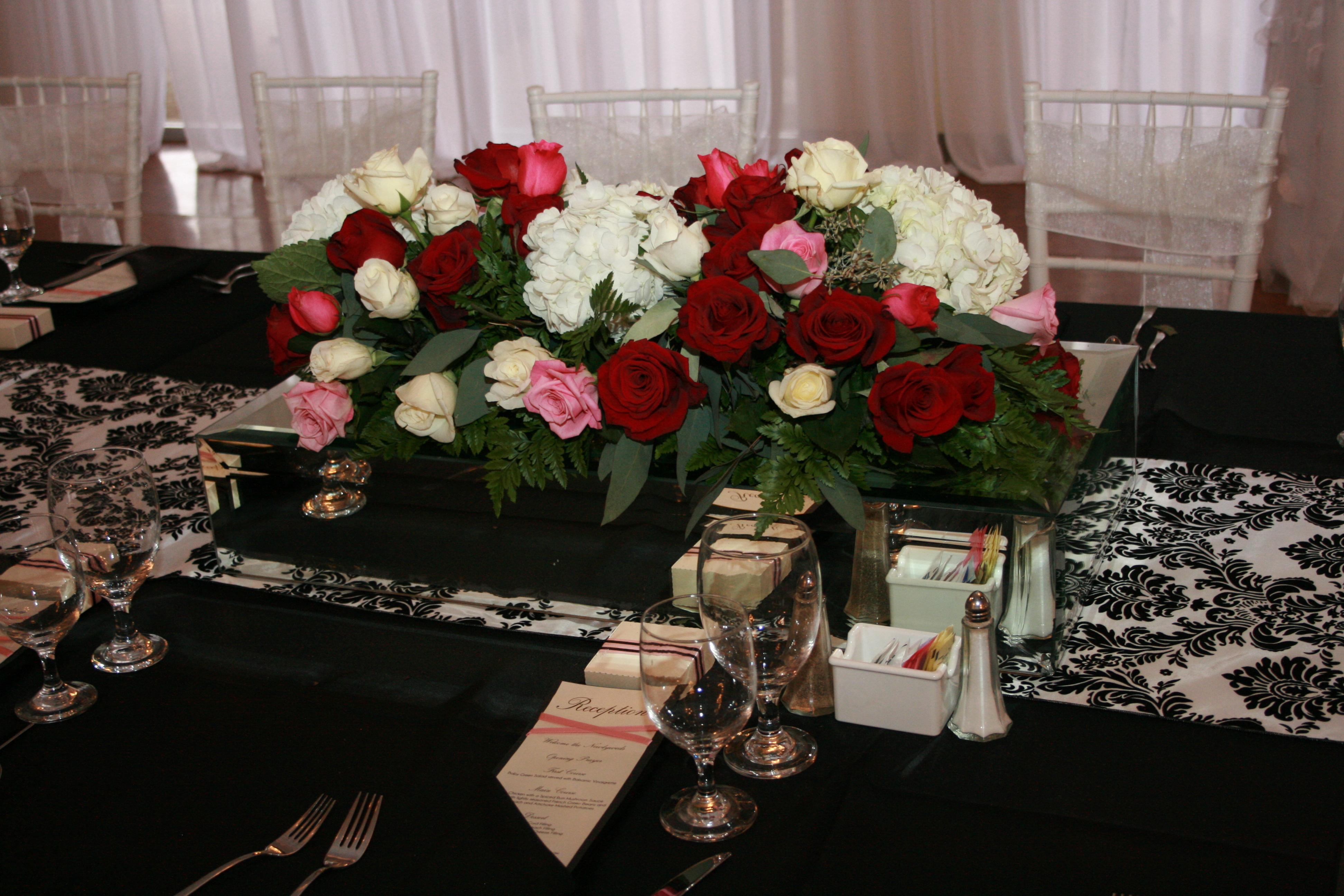 Reception, Flowers & Decor, white, black, silver, Flowers