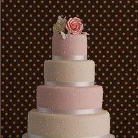 Cakes, white, yellow, pink, cake, Rose, Dots, Ribbon trim