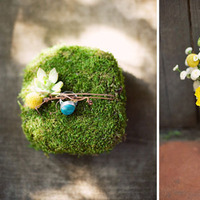 Ceremony, Inspiration, Flowers & Decor, white, yellow, blue, green, silver, Ceremony Flowers, Flowers, Teal, Board, Ring pillow, Cream, Aqua, Turquoise, Off-white, Billy balls, Ring pillow alternative