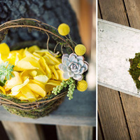 Ceremony, Flowers & Decor, white, yellow, blue, green, brown, silver, Ceremony Flowers, Boutonnieres, Groomsmen, Flowers, Flower girl, Boutonniere, Basket, Billy balls