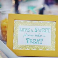 Reception, Flowers & Decor, white, yellow, blue, green, Teal, Candy, Aqua, Turquoise, candy bar, Signage, Lemon drops