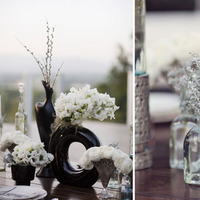 Inspiration, Reception, Flowers & Decor, white, brown, black, silver, Centerpieces, Vintage, Modern, Flowers, Modern Wedding Flowers & Decor, Vintage Wedding Flowers & Decor, Centerpiece, Board, Modern vintage