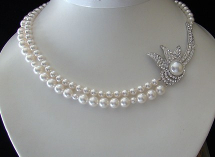 white, silver, Pearls, Necklace, Etsy, Broach