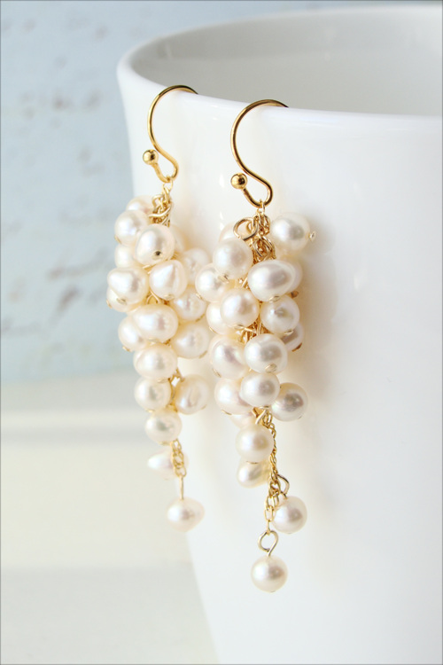 Jewelry, silver, gold, Wedding, Earring, Pearl, Freshwater, Cascate