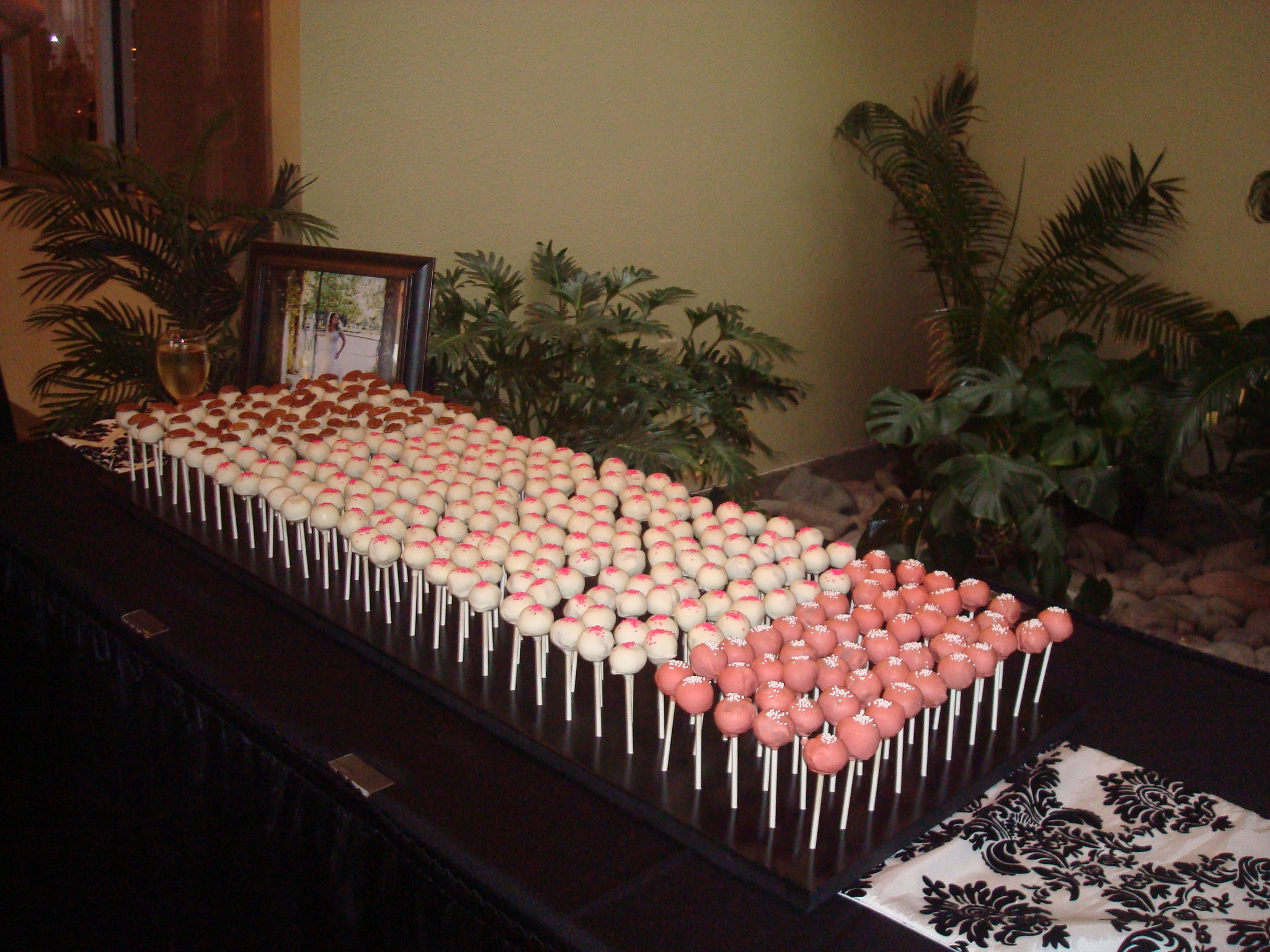 Reception, Flowers & Decor, Cakes, white, black, silver, cake, Lollipops