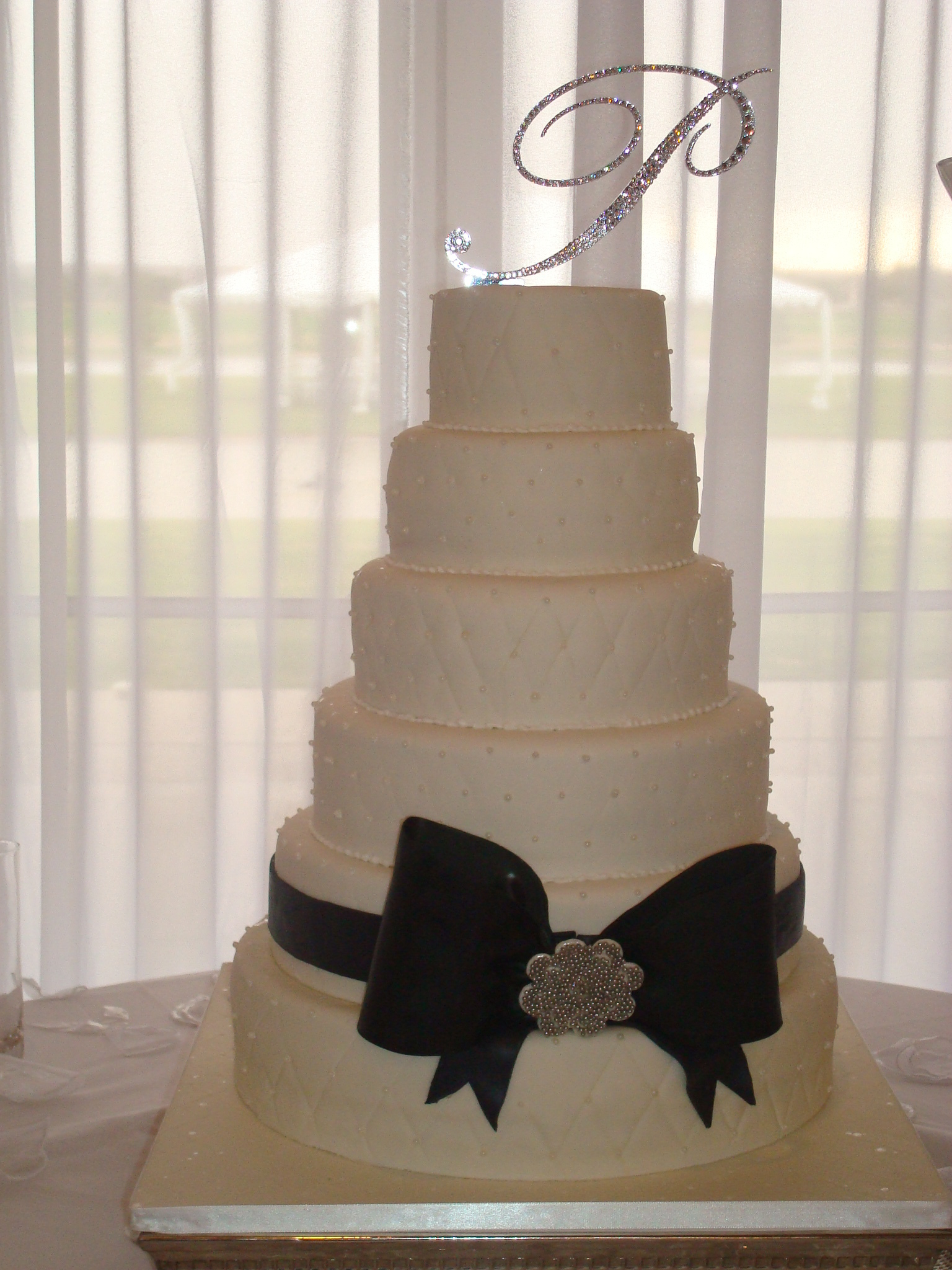 Reception, Flowers & Decor, Cakes, white, black, silver, cake