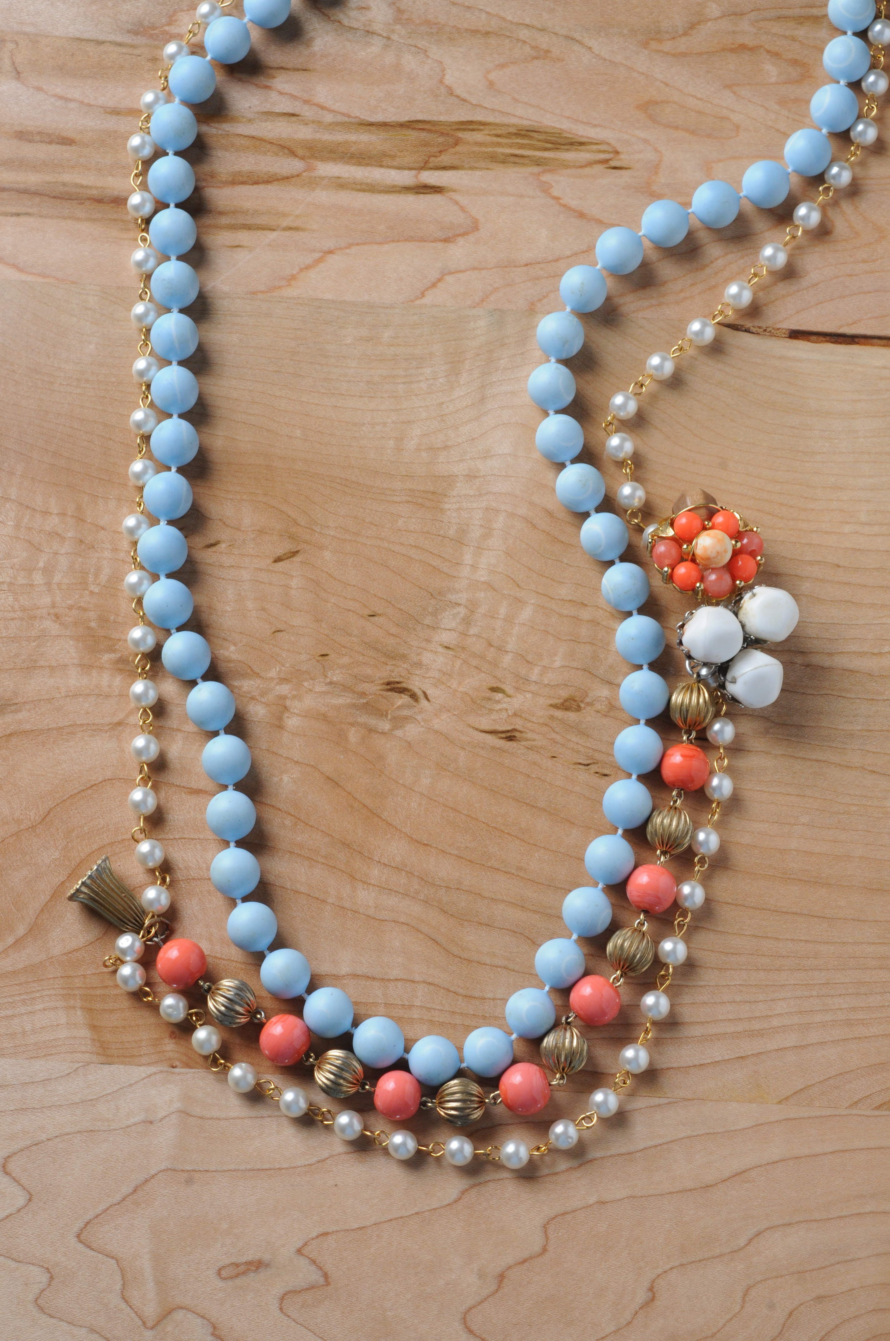 Jewelry, white, orange, blue, Necklaces, Vintage, Bride, Bridesmaid, Necklace, Earring, Beads