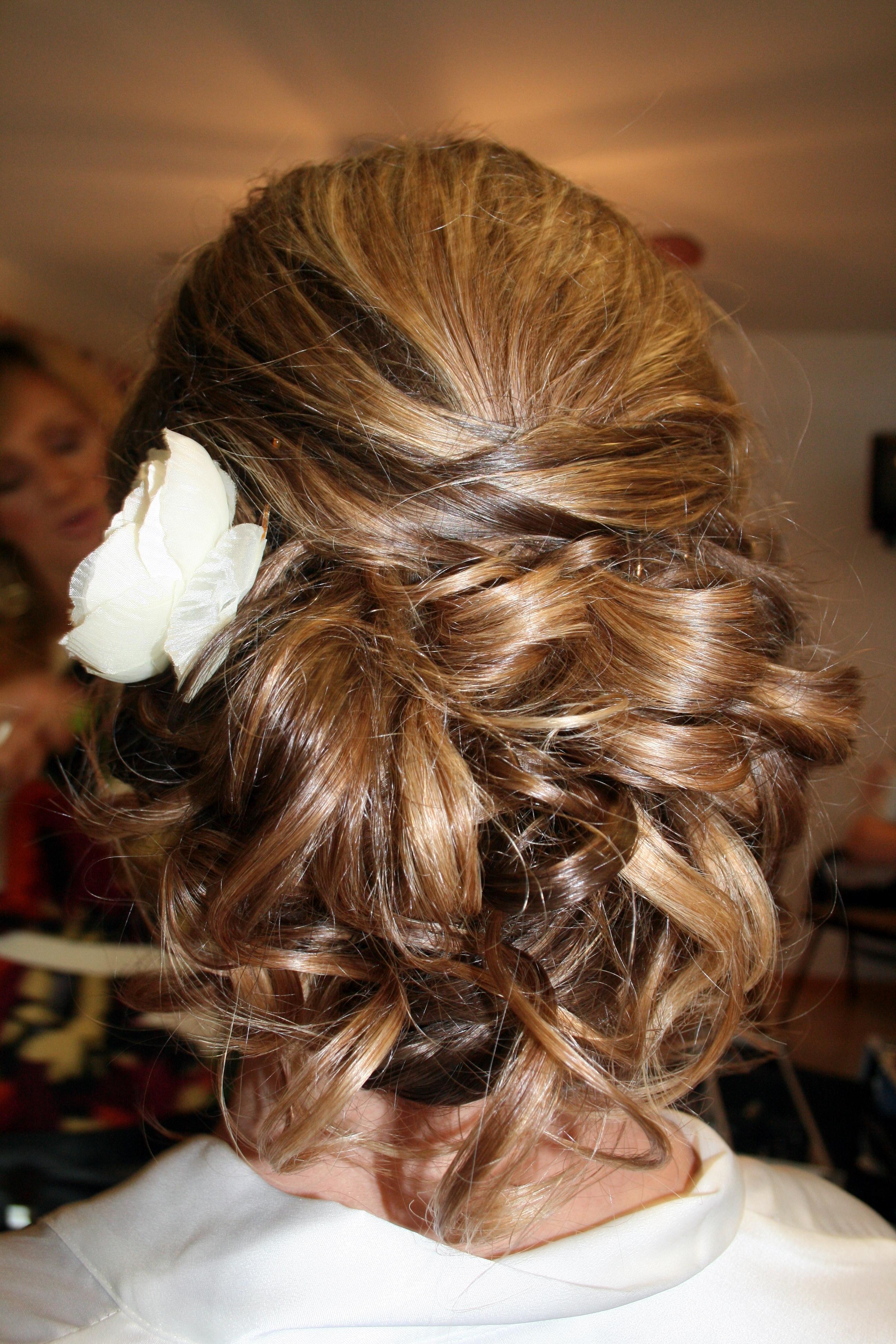 Beauty, Flowers & Decor, Chignon, Updo, Flower, Hair, Curls, Bun