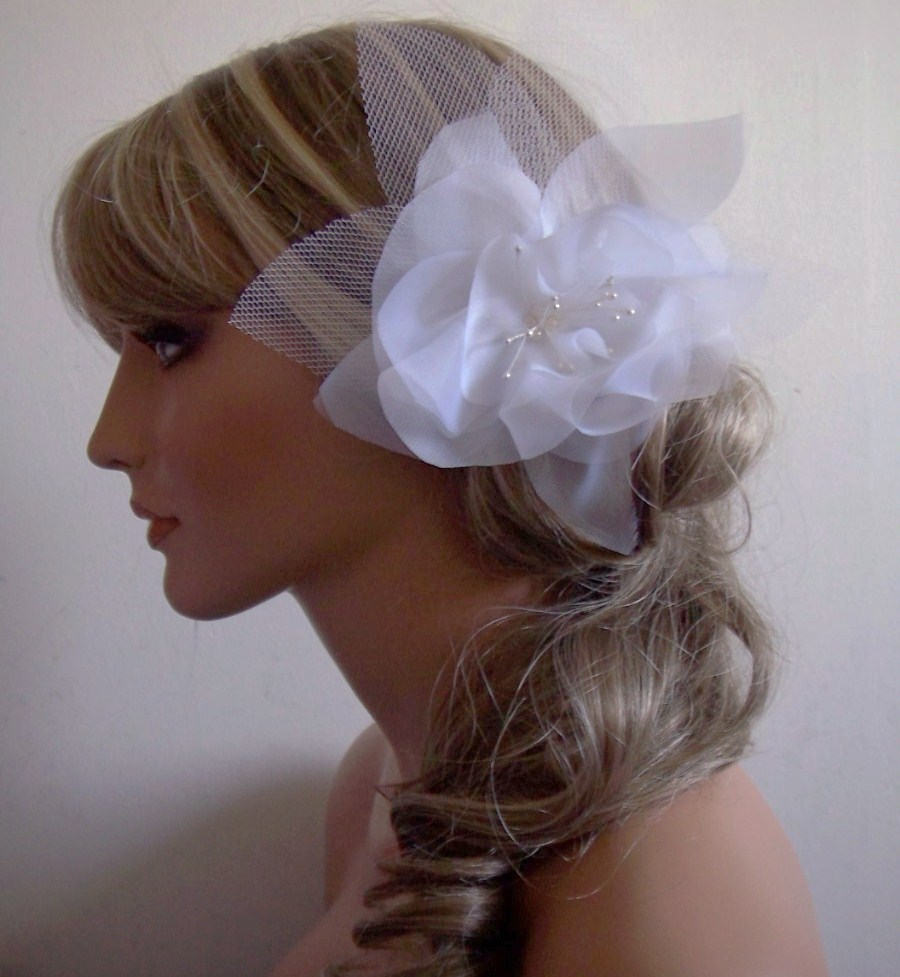 Beauty, Flowers & Decor, white, Bride, Flower, Hair, Bridal, Unique, Organza, Fascinator, Handmade, Mgmart