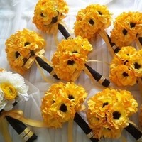 Flowers & Decor, white, yellow, black, gold, Flowers