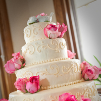 Cakes, white, pink, cake, Roses, Birds, Stand, Love