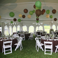 Reception, Flowers & Decor, Paper, white, green, brown, Tent, Lanterns, With