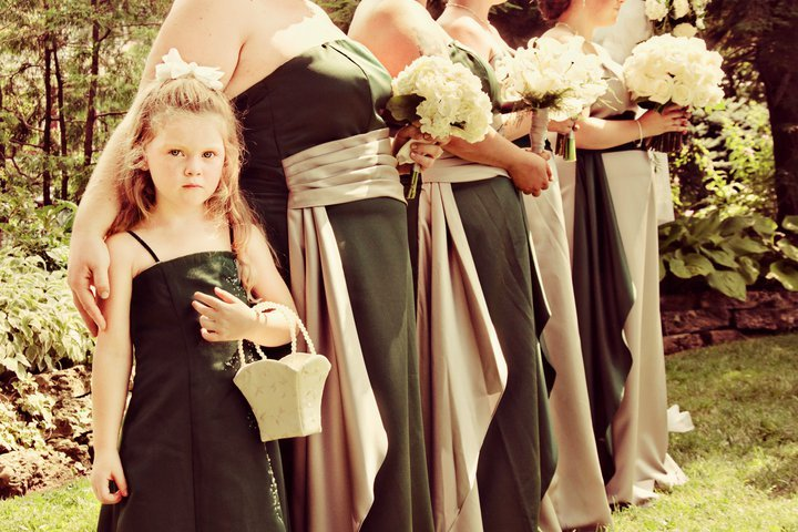 Ceremony, Flowers & Decor, Bridesmaids, Bridesmaids Dresses, Wedding Dresses, Fashion, green, silver, dress, Ceremony Flowers, Bridesmaid Bouquets, Flowers, Flower Wedding Dresses
