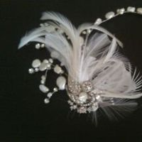 Beauty, Flowers & Decor, Jewelry, white, silver, Feathers, Flowers, Hair, Headpiece, Head, Rhinestone, Piece