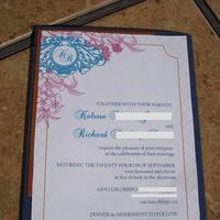 Stationery, pink, invitation, Invitations, Teal, Copper, Navy