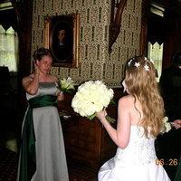 Beauty, Reception, Flowers & Decor, Bridesmaids, Bridesmaids Dresses, Wedding Dresses, Fashion, green, silver, dress, Hair