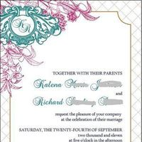 Stationery, pink, blue, Invitations, Copper