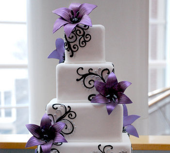 Reception, Flowers & Decor, Cakes, purple, blue, cake, Flowers
