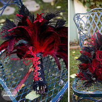 Beauty, Flowers & Decor, red, black, Feathers, Bride Bouquets, Flowers, Bouquet