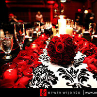 Reception, Flowers & Decor, red, black, Damask, Tablescape