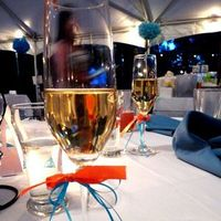 Reception, Flowers & Decor, ivory, orange, blue, Champagne, Riedel