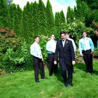 orange, blue, Groomsmen, Groom, Attire