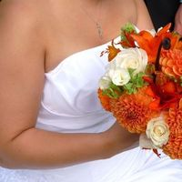 Flowers & Decor, white, orange, Bride Bouquets, Flowers, Roses, Bouquet, Lilies, Bridal, Dahlias