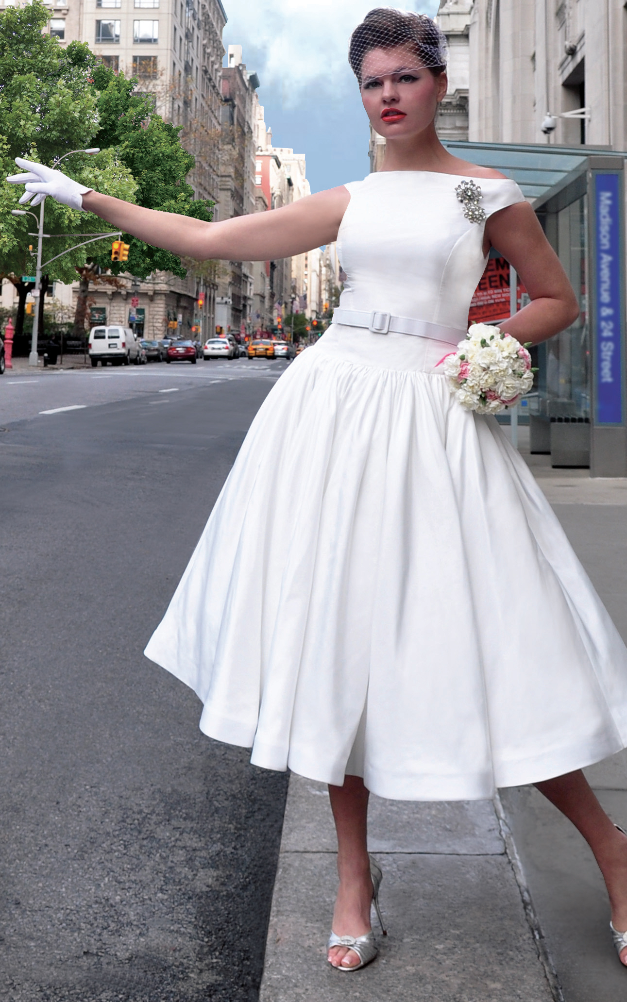 Wedding Dresses, Veils, Vintage Wedding Dresses, Fashion, white, dress, Vintage, Veil, Wedding, Gloves, Tea, Birdcage, Retro, Swing, Length, Shoulder, Off, Taffeta, 50s, Fifties, Rockabilly, Belted, Tea Length Wedding Dresses, taffeta wedding dresses