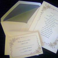 Stationery, green, silver, Invitations